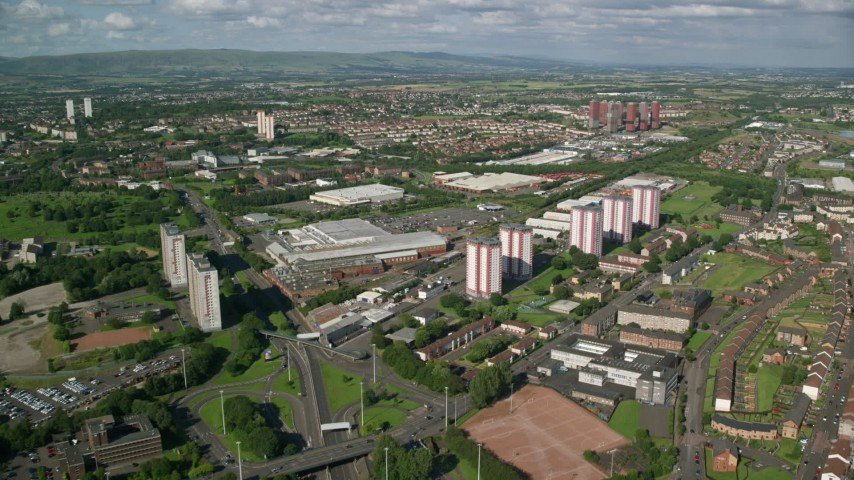 6K stock footage aerial video of apartment buildings and warehouses, Glasgow, Scotland Aerial Stock Footage AX110_213 | Axiom Images