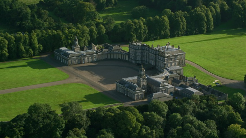 6K stock footage aerial video of passing Hopetoun House in Scotland Aerial Stock Footage | AX111_049