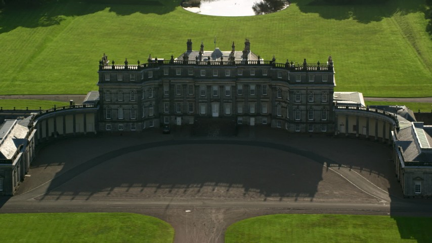 6K stock footage aerial video approach Hopetoun House in Scotland Aerial Stock Footage | AX111_054