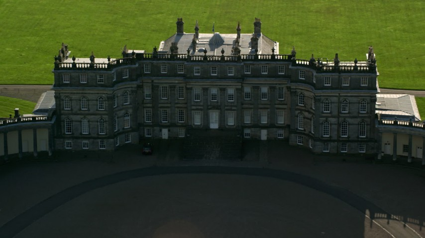 6K stock footage aerial video of flying over Hopetoun House in Scotland Aerial Stock Footage | AX111_055