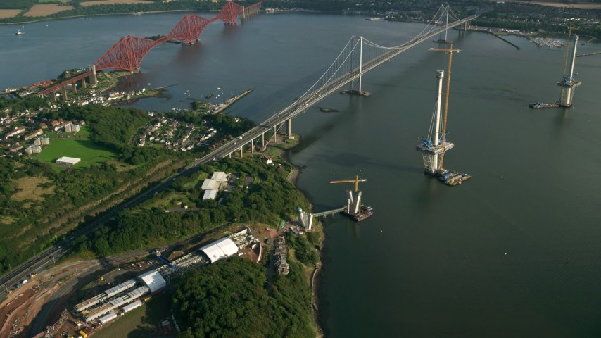6K stock footage aerial video of new bridge construction by Forth Road Bridge on the Firth of Forth, Scotland Aerial Stock Footage | AX111_065