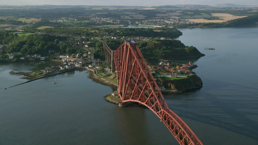 6K stock footage aerial video of orbiting Forth Bridge on Firth of Forth, North Queensferry, Scotland Aerial Stock Footage | AX111_069
