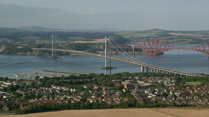 6K stock footage aerial video of the Forth Road Bridge in Edinburgh, Scotland Aerial Stock Footage | AX111_099