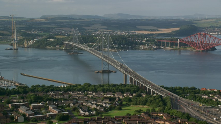 6K stock footage aerial video flyby Forth Road Bridge and Firth of Forth, Edinburgh, Scotland Aerial Stock Footage | AX111_101