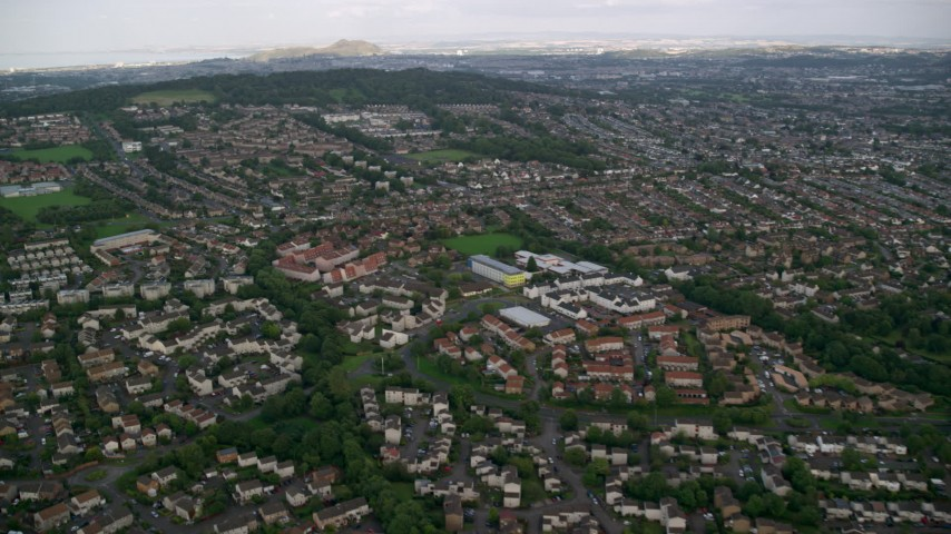 6K stock footage aerial video fly over suburban residential neighborhoods, Edinburgh, Scotland Aerial Stock Footage | AX111_108