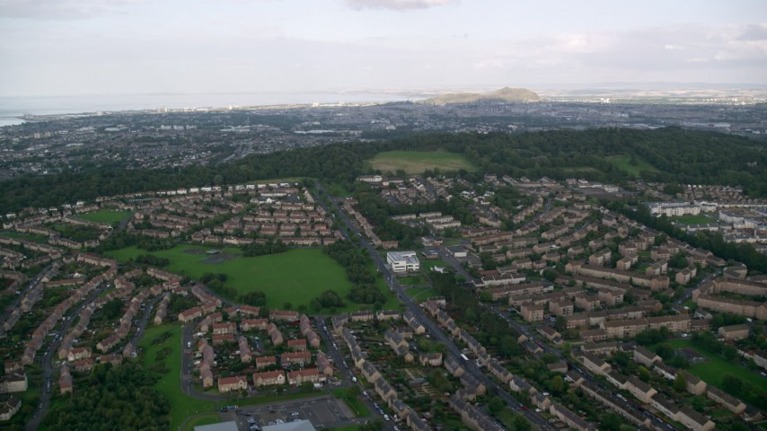 6K stock footage aerial video fly over suburban residential areas, Edinburgh, Scotland Aerial Stock Footage | AX111_110