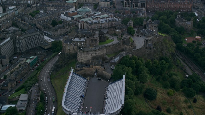 6K stock footage aerial video fly over historic Edinburgh Castle, Scotland Aerial Stock Footage | AX111_135