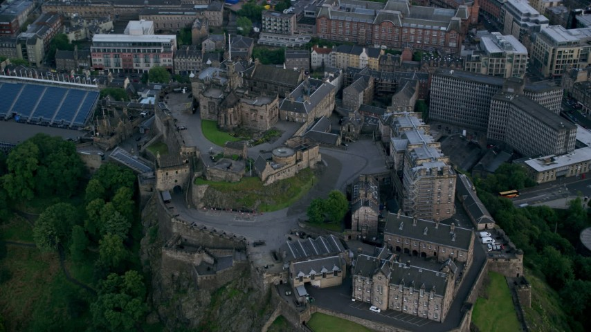 6K stock footage aerial video of orbiting historic Edinburgh Castle, Edinburgh Aerial Stock Footage | AX111_142