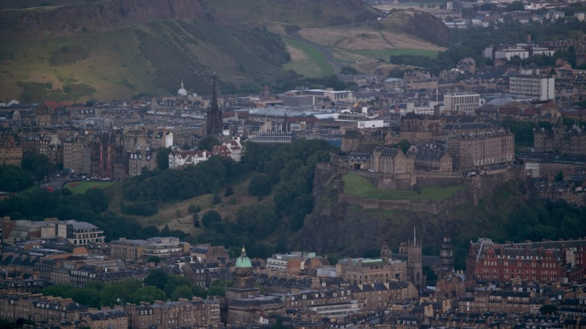 6K stock footage aerial video of iconic Edinburgh Castle and cityscape, Scotland Aerial Stock Footage | AX111_154
