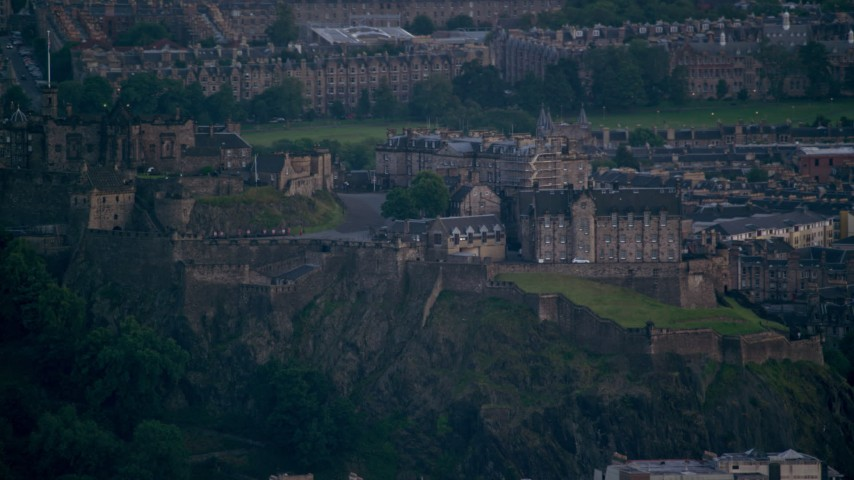 6K stock footage aerial video of a view of the historic Edinburgh Castle, Scotland Aerial Stock Footage | AX111_160