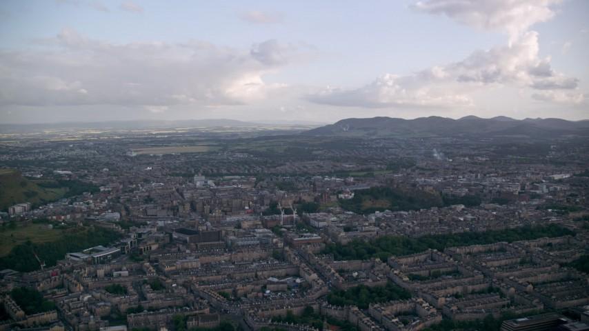 6K stock footage aerial video of the Edinburgh cityscape, Scotland Aerial Stock Footage | AX111_161