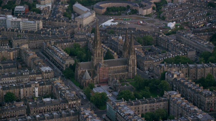6K stock footage aerial video of orbiting St Mary's Cathedral, Edinburgh, Scotland Aerial Stock Footage | AX111_164