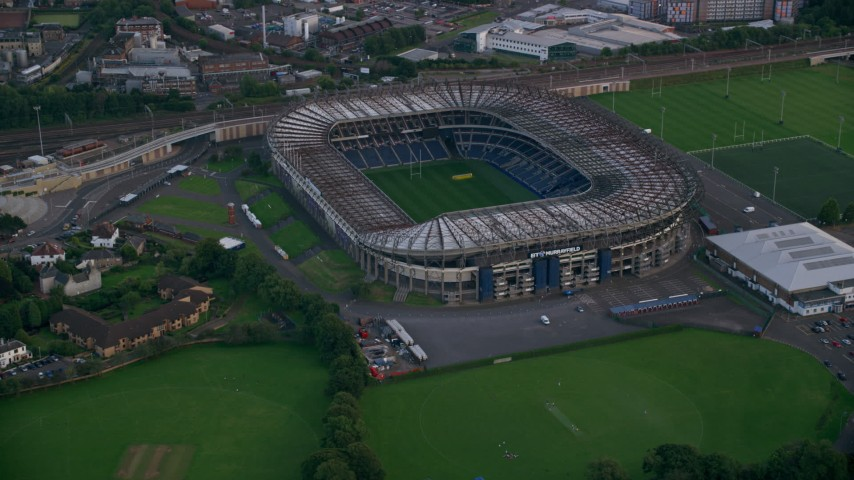 6K stock footage aerial video of orbiting Murrayfield Stadium, a rugby stadium in Edinburgh, Scotland Aerial Stock Footage | AX111_165