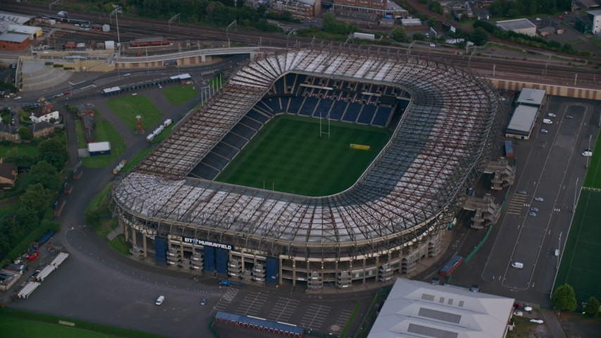 6K stock footage aerial video of orbiting Murrayfield Stadium, Edinburgh, Scotland Aerial Stock Footage | AX111_166