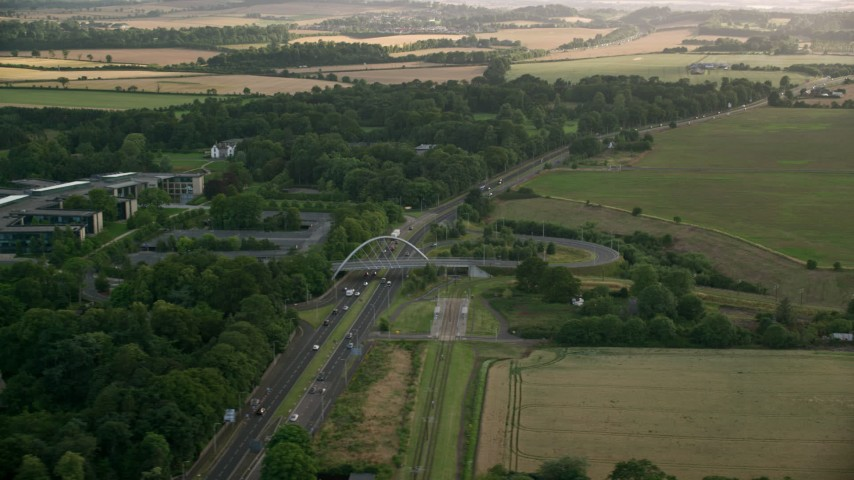6K stock footage aerial video of the A8 Highway, Edinburgh, Scotland Aerial Stock Footage | AX111_168