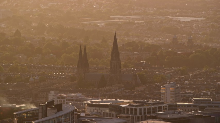 6K aerial stock footage video of St Mary's Cathedral, Edinburgh, Scotland at sunset Aerial Stock Footage | AX112_028