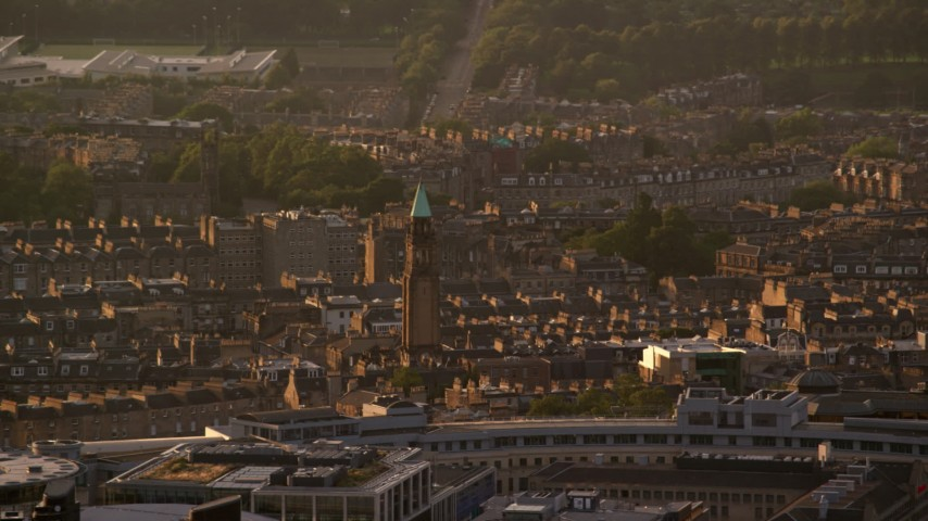 6K stock footage aerial video of Saint George's West Church, Edinburgh, Scotland at sunset Aerial Stock Footage | AX112_030