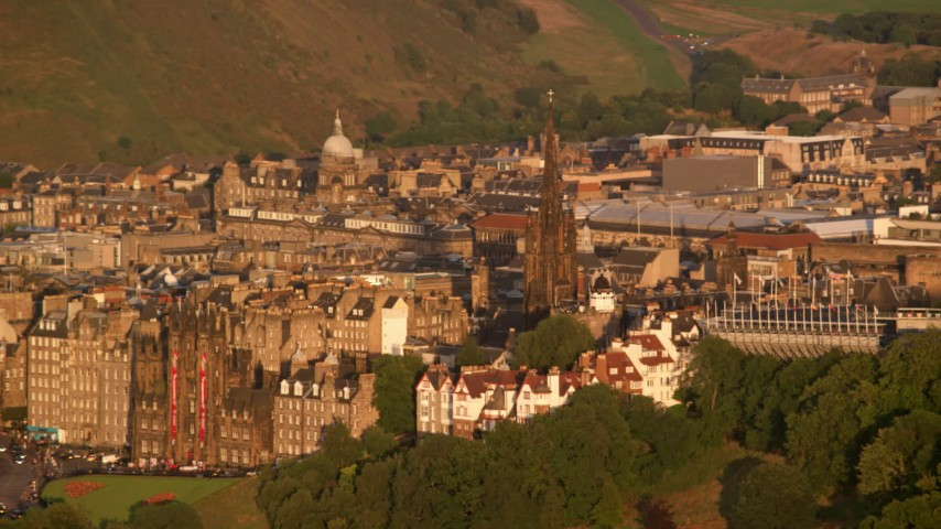 6K stock footage aerial video of The Hub cathedral, Edinburgh, Scotland at sunset Aerial Stock Footage | AX112_033