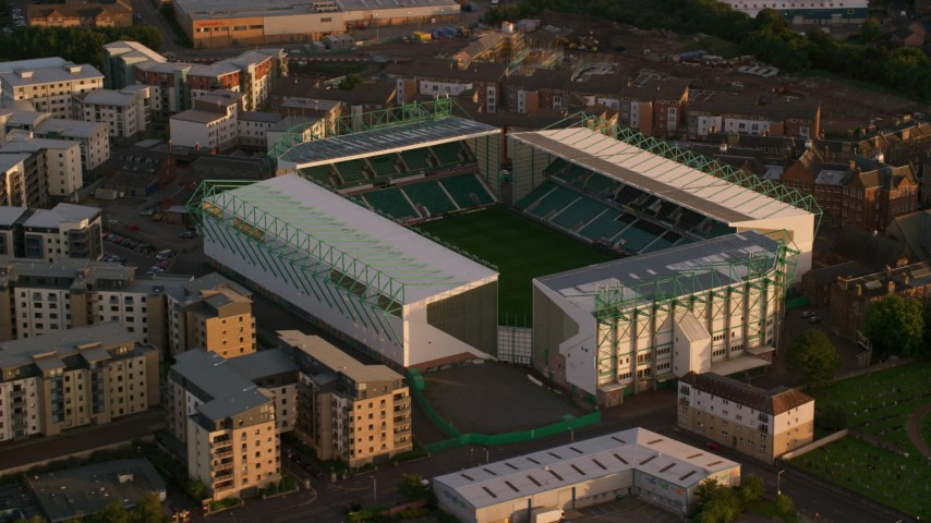 6K stock footage aerial video of an orbit of Easter Road soccer stadium, Edinburgh, Scotland at sunset Aerial Stock Footage | AX112_061
