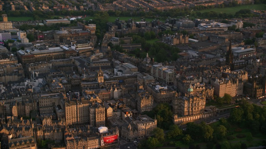 6K stock footage aerial video of Lloyds Bank Headquarters and office buildings, Edinburgh, Scotland at sunset Aerial Stock Footage | AX112_078