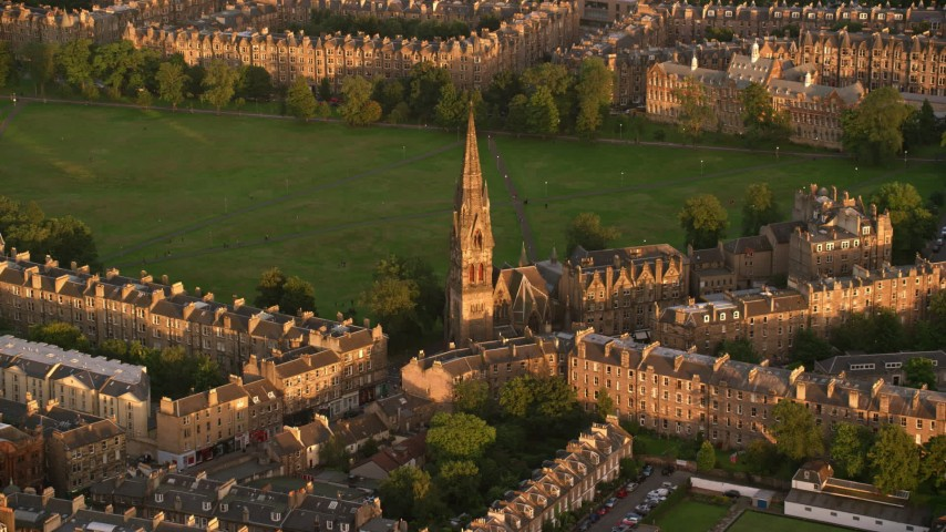 6K stock footage aerial video of Barclay Viewforth Church, Edinburgh, Scotland at sunset Aerial Stock Footage | AX112_083