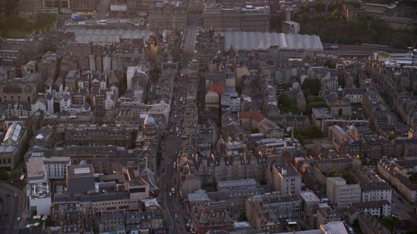6K stock footage aerial video of the University of Edinburgh, Scotland at sunset Aerial Stock Footage | AX112_103