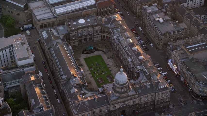 6K stock footage aerial video of orbiting University of Edinburgh School of Law, Scotland  at sunset Aerial Stock Footage AX112_106 | Axiom Images