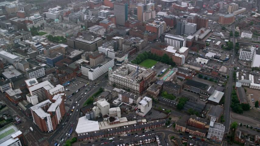 6K stock footage aerial video of orbiting city office buildings, Belfast, Northern Ireland Aerial Stock Footage | AX113_092
