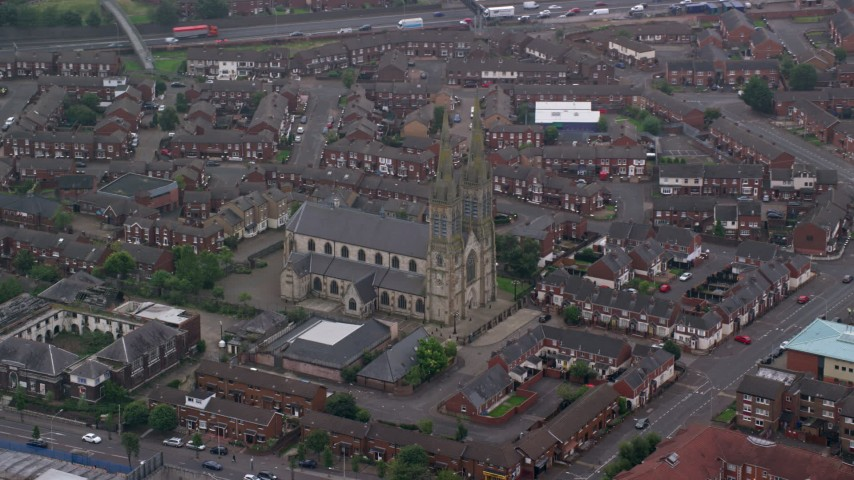 6K stock footage aerial video of orbiting St Peter's Cathedral, Belfast, Northern Ireland Aerial Stock Footage | AX113_112