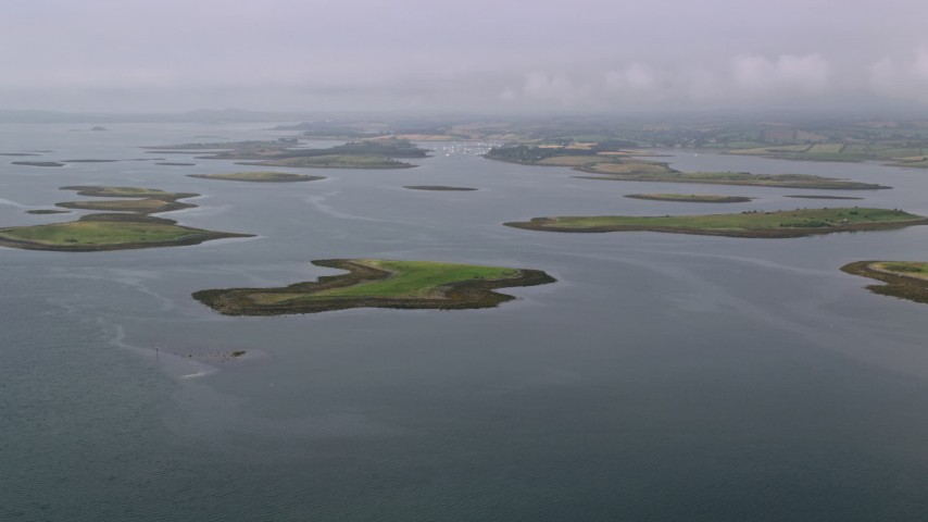 6K stock footage aerial video of islands in a sea loch, Strangford Lough, Northern Ireland Aerial Stock Footage | AX113_140