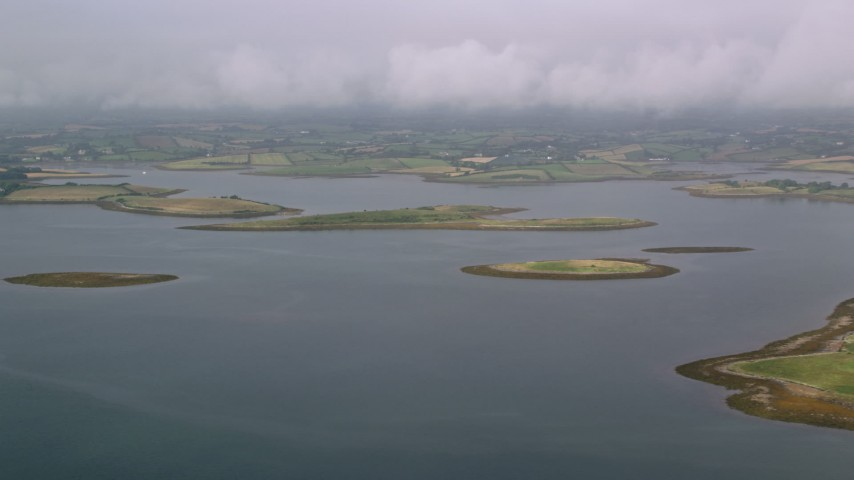 6K stock footage aerial video flyby islands in a sea loch, Strangford Lough, Northern Ireland Aerial Stock Footage | AX113_143