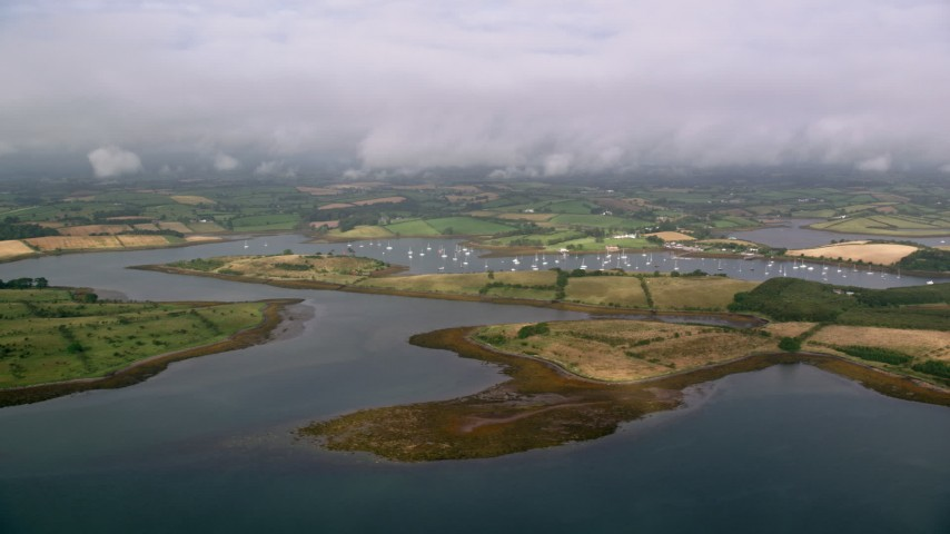 6K stock footage aerial video flyby islands and a harbor in Strangford Lough, Northern Ireland Aerial Stock Footage AX113_149 | Axiom Images