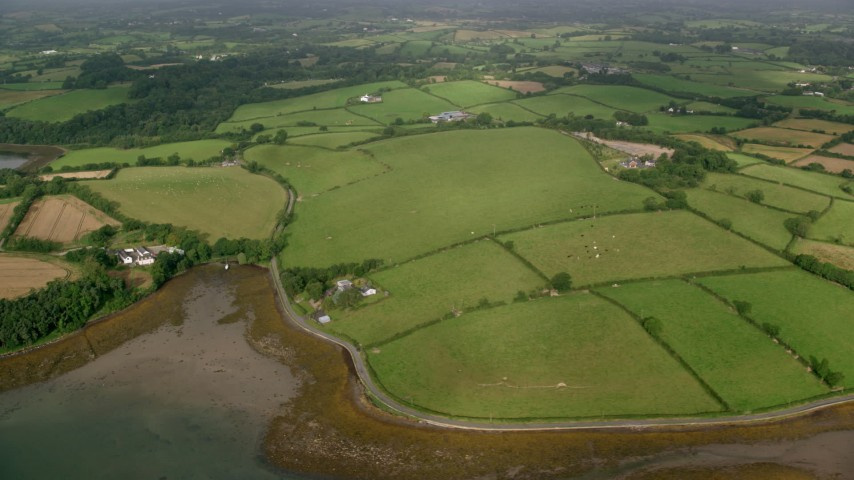 6K stock footage aerial video of farm fields on the shore of Strangford Lough, Killyleagh, Northern Ireland Aerial Stock Footage | AX113_154