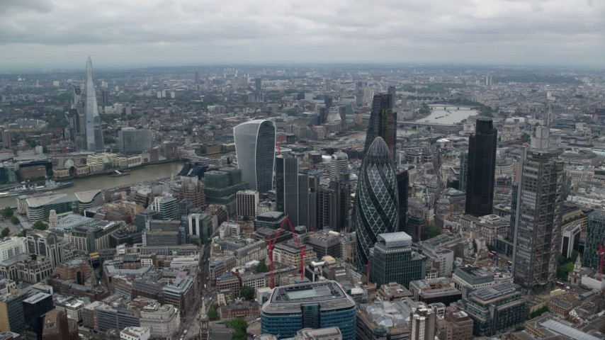6K stock footage aerial video of an orbit of skyscrapers, The Shard in the distance, Central London, England Aerial Stock Footage | AX114_031