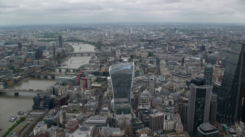 6K stock footage aerial video approach 20 Fenchurch Street skyscraper by River Thames, Central London, England Aerial Stock Footage | AX114_036