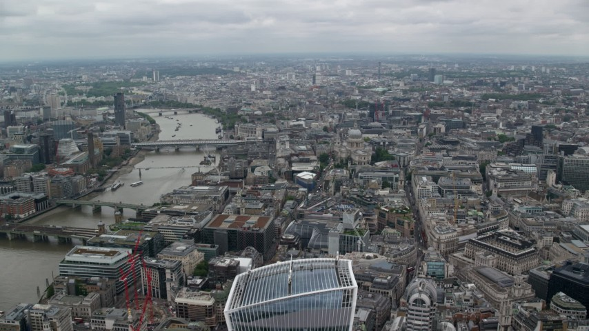 6K stock footage aerial video approach St Paul's Cathedral near the River Thames, Central London, England Aerial Stock Footage | AX114_037