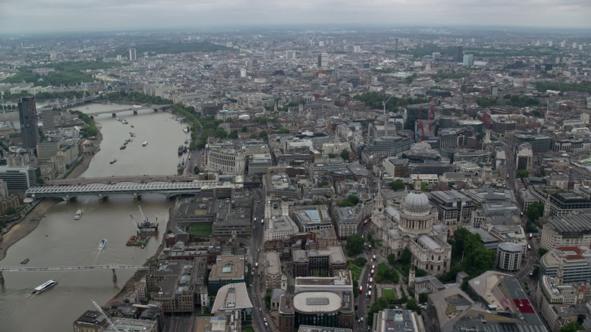 6K stock footage aerial video approach St Paul's Cathedral in Central London by River Thames, England Aerial Stock Footage | AX114_039