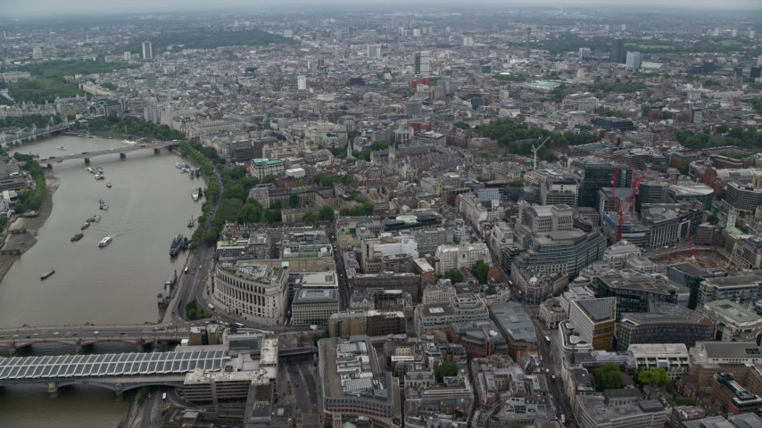 6K stock footage aerial video of office buildings near River Thames, Central London, England Aerial Stock Footage | AX114_040