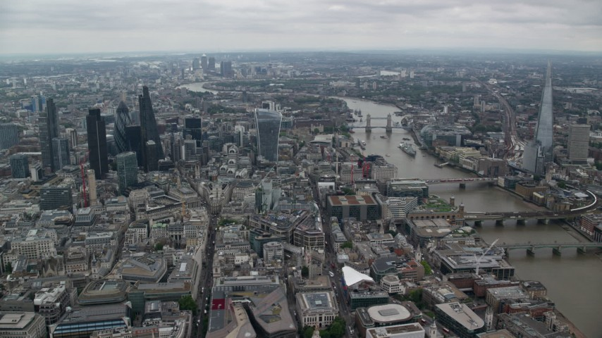 6K stock footage aerial video of Central London skyscrapers and Tower Bridge near The Shard, England Aerial Stock Footage | AX114_041