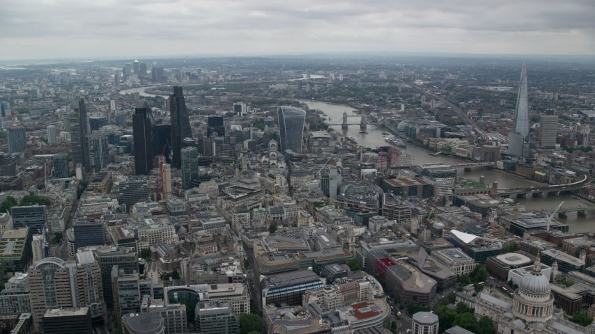 6K stock footage aerial video of Central London skyscrapers and The Shard by River Thames, England Aerial Stock Footage | AX114_042