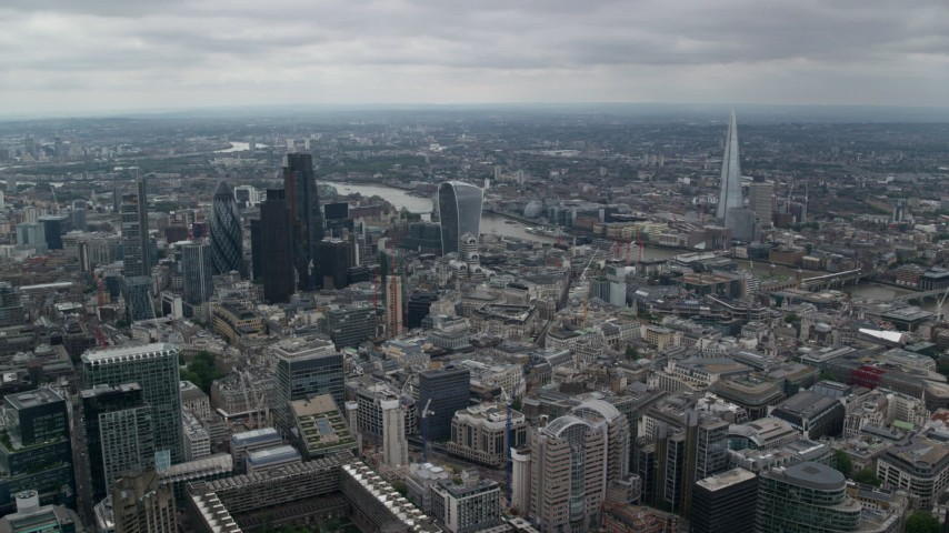 6K stock footage aerial video of Central London skyscrapers, The Shard and city sprawl around River Thames, England Aerial Stock Footage | AX114_044