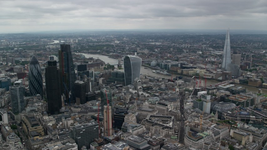 6K stock footage aerial video approach 20 Fenchurch and River Thames, Central London, England Aerial Stock Footage | AX114_046
