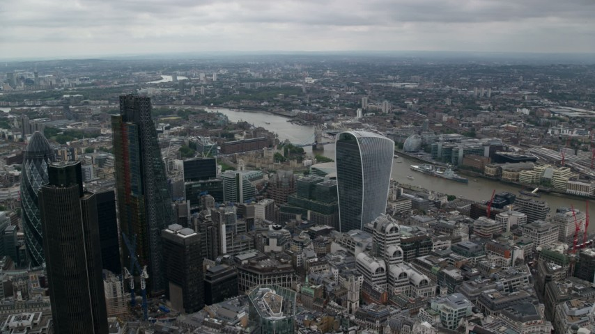 6K stock footage aerial video approach 20 Fenchurch Street and Tower Bridge over River Thames, Central London, England Aerial Stock Footage | AX114_047