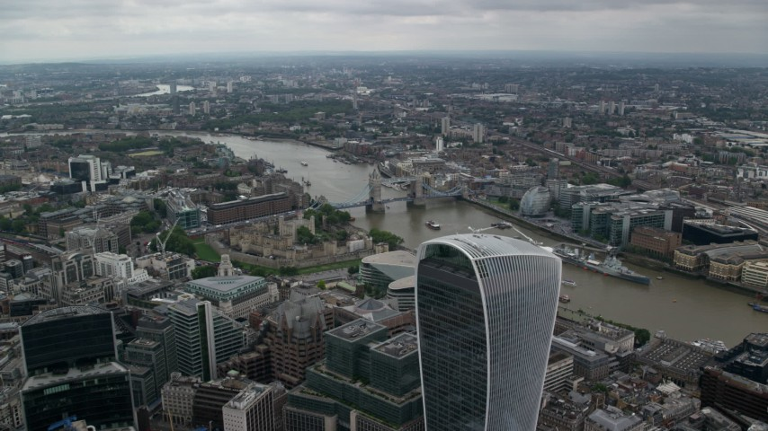 6K aerial video fly over 20 Fenchurch Street toward Tower Bridge and River Thames, London, England Aerial Stock Footage AX114_048