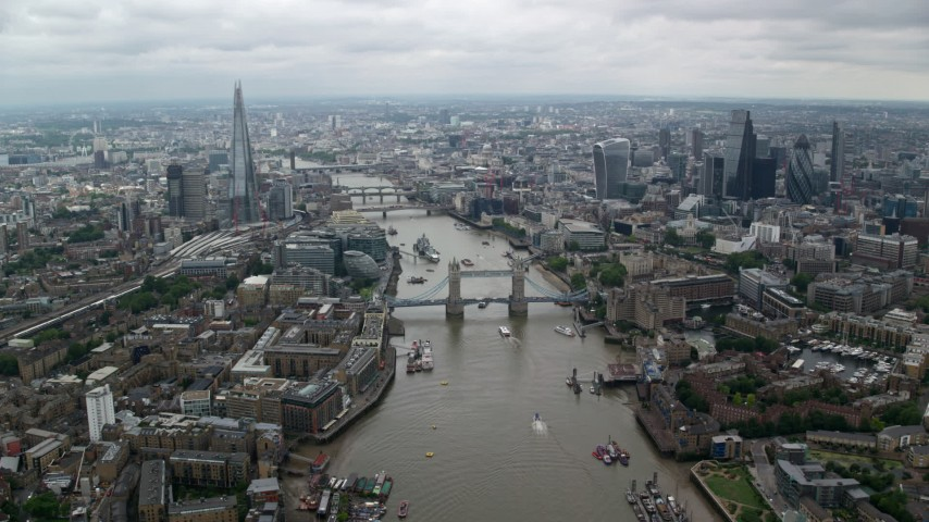 6K stock footage aerial video of the Shard and Tower Bridge over River Thames, Central London England Aerial Stock Footage | AX114_054