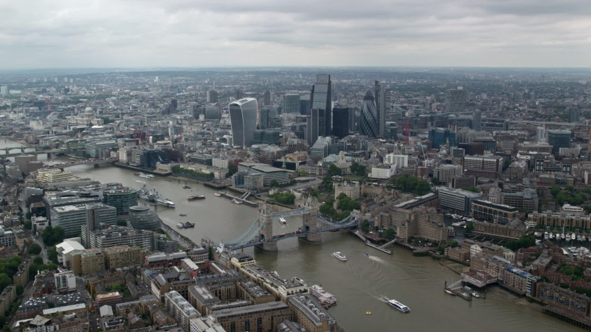 6K stock footage aerial video approach Tower Bridge, Tower of London and River Thames, Central London, England Aerial Stock Footage | AX114_058