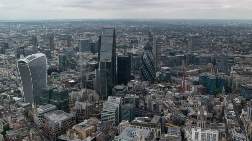 6K stock footage aerial video approach The Gherkin and Central London skyscrapers, England Aerial Stock Footage | AX114_061
