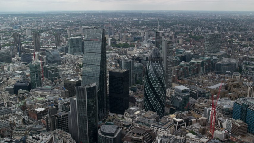 6K stock footage aerial video of The Gherkin and Leadenhall Building skyscrapers, Central London, England Aerial Stock Footage | AX114_062