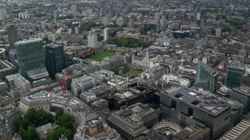 6K aerial video fly over office buildings, approach Artillery Ground and Finsbury Square, Central London, England Aerial Stock Footage | AX114_064