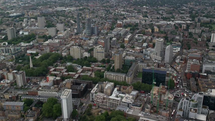 6K stock footage aerial video fly over office and apartment buildings, Central London, England Aerial Stock Footage | AX114_066
